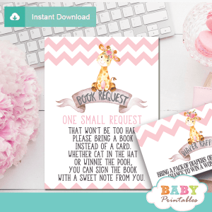 chevron pink giraffe book request cards