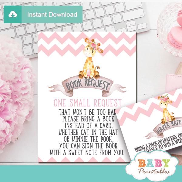 chevron pink giraffe book request cards