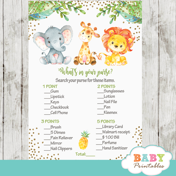 Jungle Animals Baby Shower Games D445 Baby Printables
