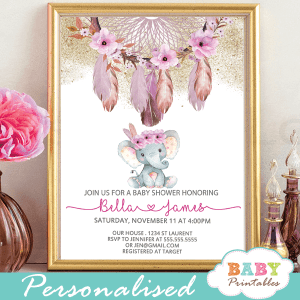 boho chic dream catcher elephant bay shower invitations pink floral feathers girl