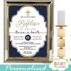 navy blue gold chic elegant baptism invites boy invitaciones para bautizo de niño