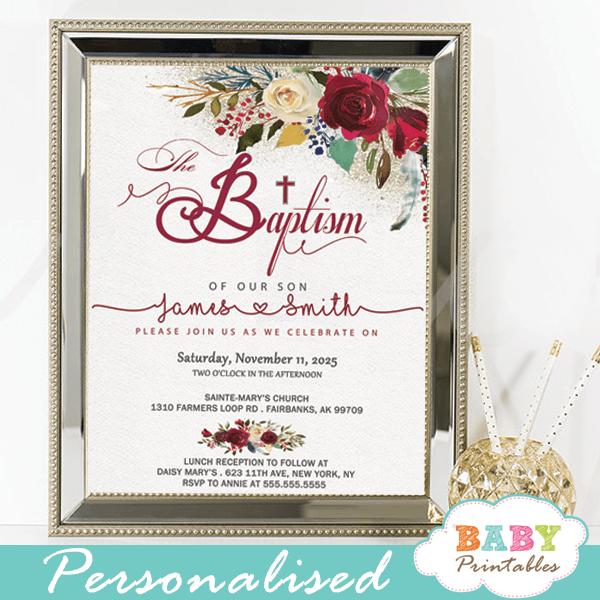 baptism invitations boy floral burgundy red ivory white flowers printable christening invites girl