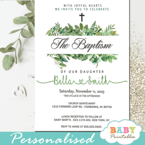 boy girl gender neutral green leaves golden cross baptism invites invitaciones para bautizo