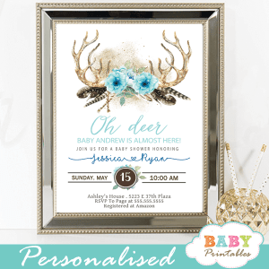 oh deer antler baby shower invitations boy boho chic floral blue feathers