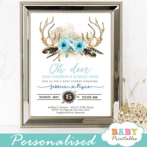 Blue Floral Deer Antler Baby Shower Invitations Boho D322