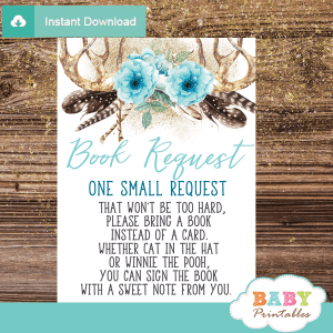 blue floral antler baby shower book request cards deer invitation inserts boho chic feathers boy