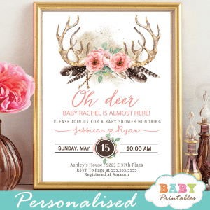 coral pink deer antler baby shower invitations boho chic feathers girl