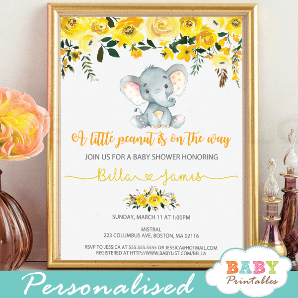 Yellow Floral Elephant Baby Shower Invitations D437 Baby Printables