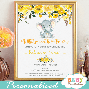 Diy elephant baby shower invitations baby printables yellow floral elephant baby shower invitations d437 filmwisefo Choice Image