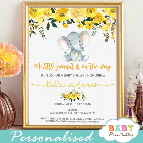floral yellow elephant baby shower invites gender neutral grey little peanut