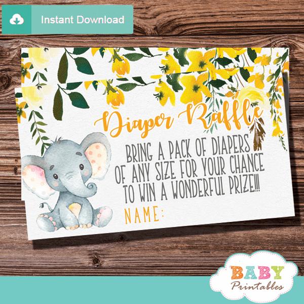 gender neutral elephant diaper raffle tickets yellow grey little peanut