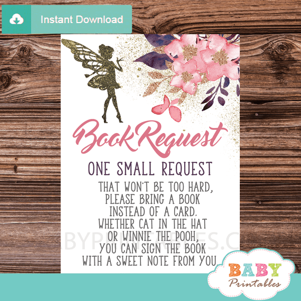 fairy flowers and butterflies book request cards hand painted watercolor pink invitation inserts
