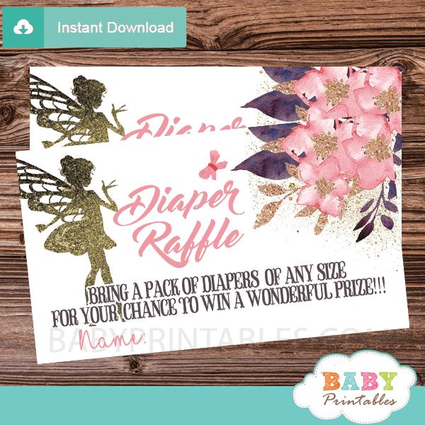 butterflies pink floral blossom fairy diaper raffle tickets