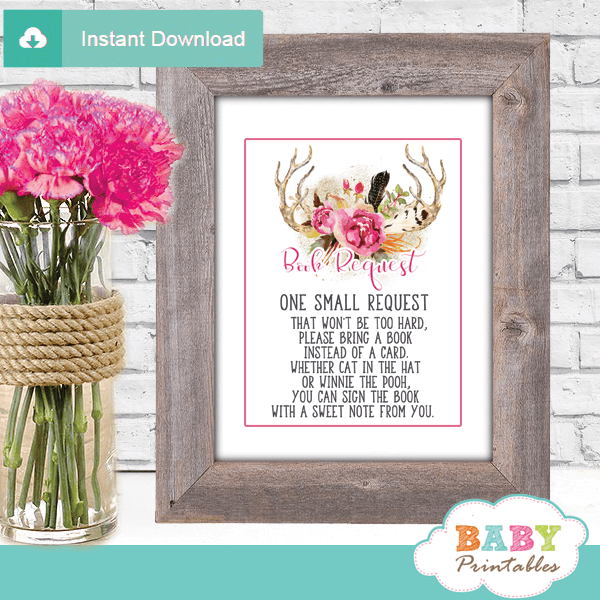 woodland pink floral antler baby shower book request cards deer invitation inserts boho chic feathers girl