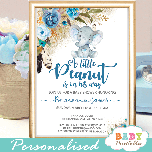 Boho Fl Boy Elephant Baby Shower Invitations D439
