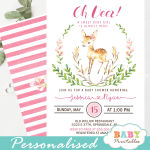 willow deer baby shower invitations floral pink blossom green wreath girl