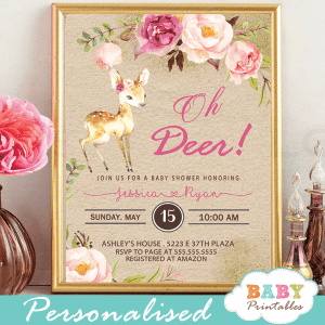 rustic kraft paper deer baby shower invitations pink blush flowers woodland baby girl