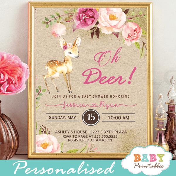 rustic kraft paper deer baby shower invitations pink blush flowers woodland baby girl