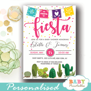 papel picado mexican fiesta baby shower invites succulent cactus watercolor confetti girl boy