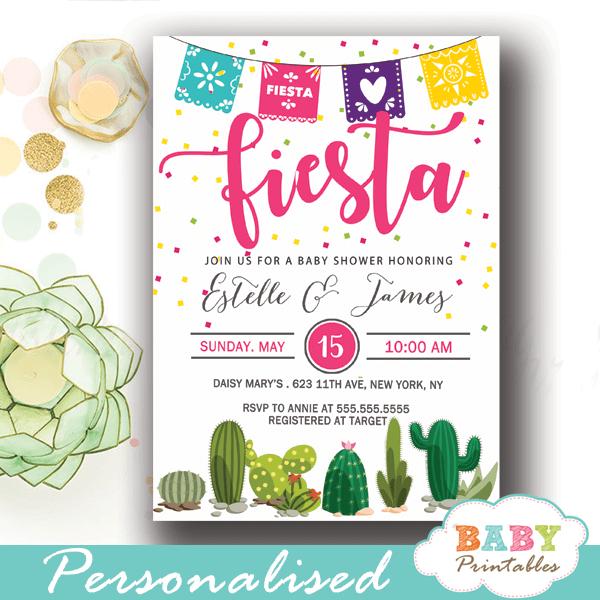 papel picado mexican fiesta baby shower invites succulent cactus watercolor confetti girl boy