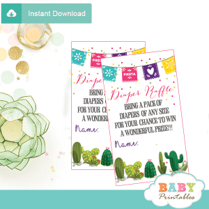 mexican style succulent fiesta diaper raffle tickets watercolor cactus