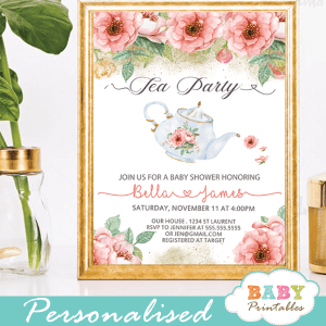 pink floral garden tea baby shower invitations girl