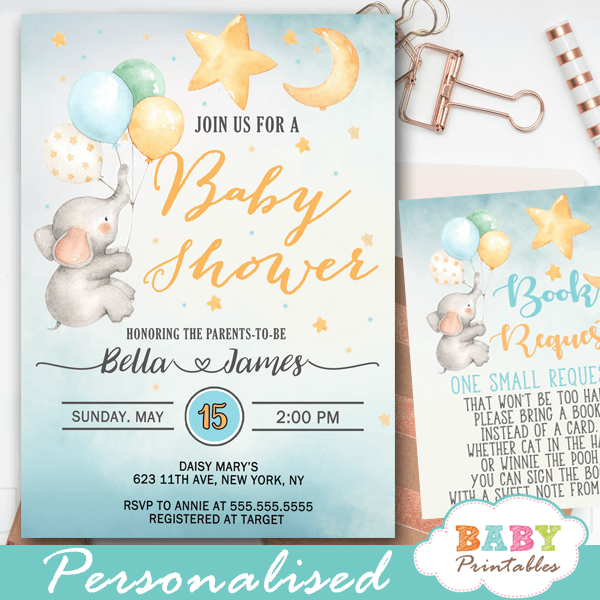 Moon And Stars Elephant Baby Shower Invites D426