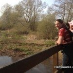 Enjoying the view with baby from the bridge, Bittern Trail, Chew Valley Lake