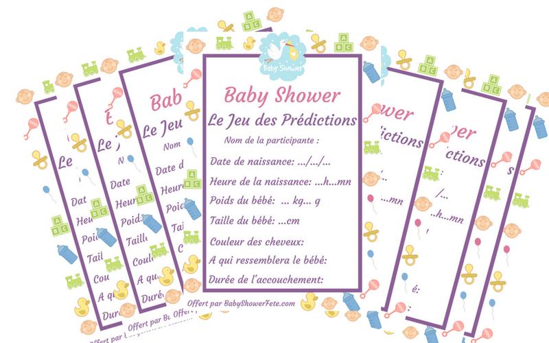 activité baby shower  jeu des prédictions