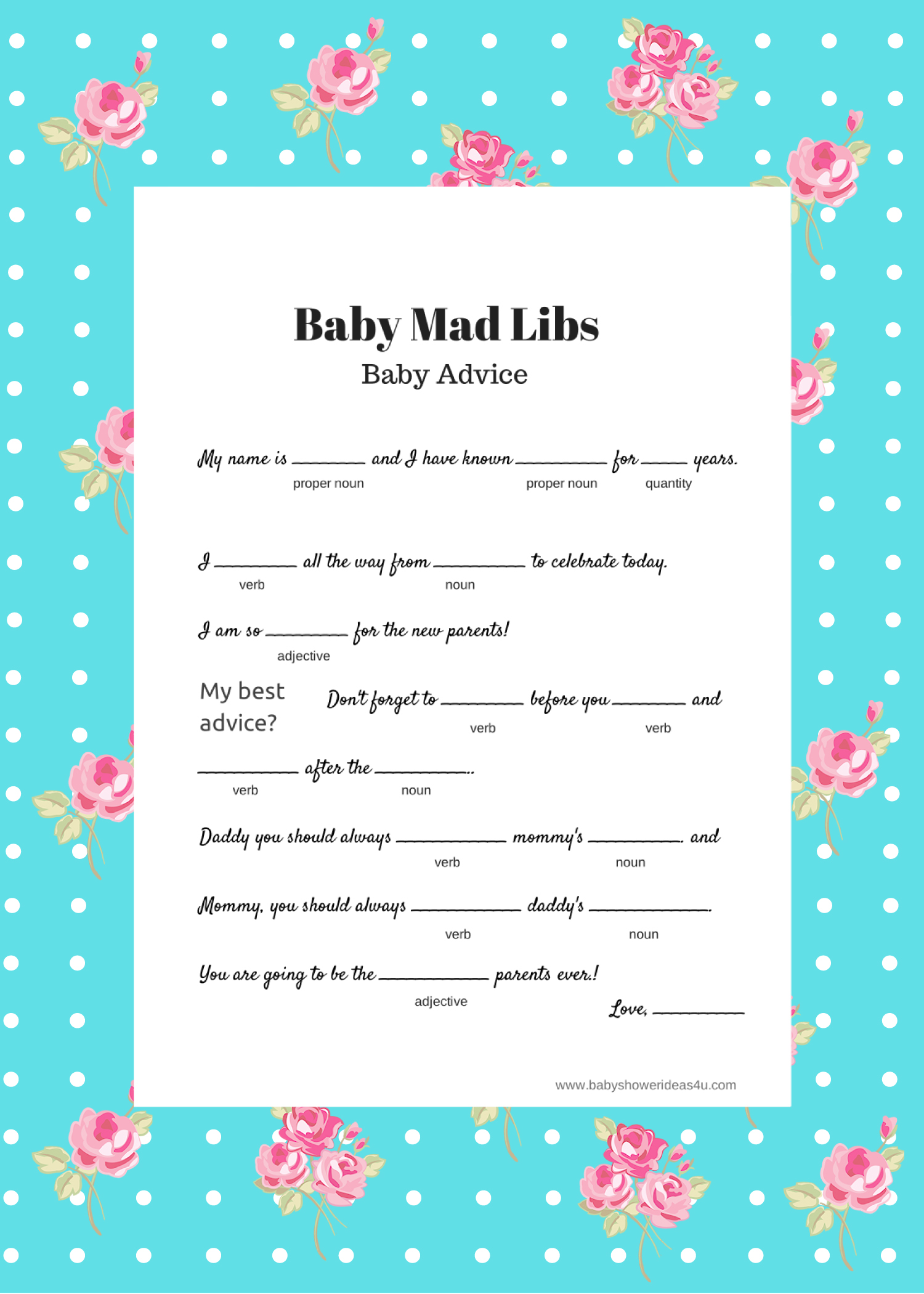 Free Instant Download Baby Shower Mad Libs Template