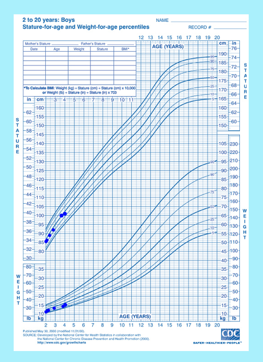 Plotted CDC Charts for Maximo's Height Weight and Head ...