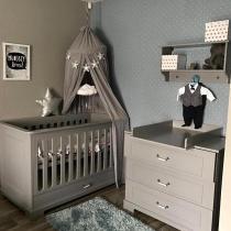 Babykamer Ines Neutral Grey ( commode + doorgroeibed Ines )
