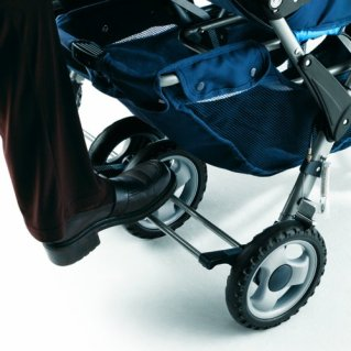 Foundations Worldwide Foundations Regette Blue 3 Passenger Stroller brake