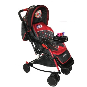 Akeeva 4-way Rocker Stroller (Red) w/ mosquito net and toytray