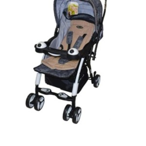 Apruva Folding Deluxe Baby Stroller with Reversible Handle (Beige & Black combination)