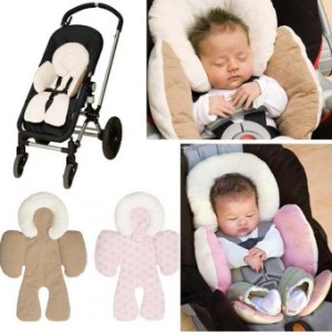 Baby Head and Body Support Pillow for Car Seat and Stroller Khaki