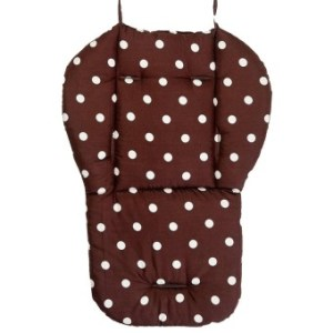 Kids Baby Dots Cotton Cartoon Double Sided Available Stroller SeatDining Chair Pad Cushion Coffee - intl