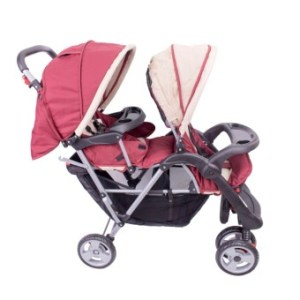 PhoenixHub High Quality Tandem Twin Double Baby Stroller Carriage (Red)