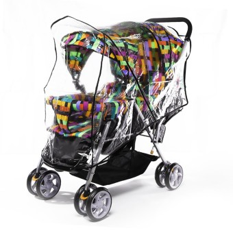 Universal PVC Double Twins Front-to-Back Baby Stroller Pram Buggy Transparent Rainproof Cover Rain Shade