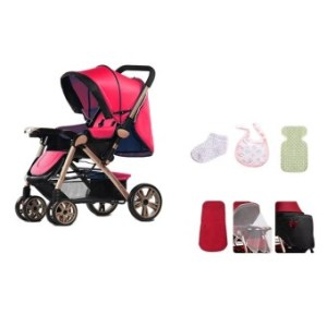 Angel Baby Two-way Four-wheel Folding Aluminum Alloy Baby Stroller (Red/Black) with Baby Care 6 in 1 Set