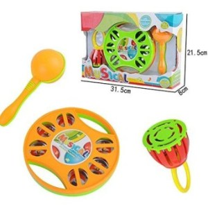Deardeer Musical Instruments For Toddlers Musical Toys Include Clap Drum Tambourine Sand Hammer Handled Cage Bell Pack Of 3