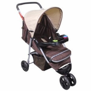 Infant Baby Jogger Stroller with Tray and Toys (Khaki)