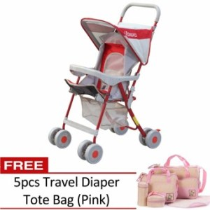 Jiawa Foldable Baby Stroller (Red) with 5pcs Travel Diaper Tote Bag (Pink)