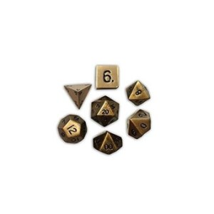 Set Of 7 Dragons Gold Full Metal Polyhedral Dice By Norse Foundry