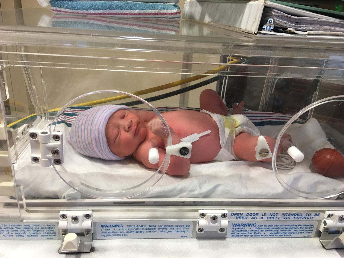 Haley's Birth Story. Haley's baby in the incubator.