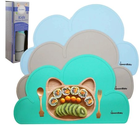 upwardbaby baby silicone placemat for toddlers isolated on white background