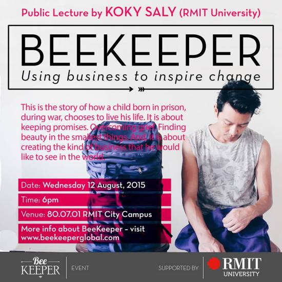 Koky with Beekeeper backpack - RMIT lecture details