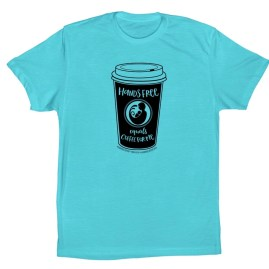 """Blue unisex baseball t-shirt with coffee cup image and phrase """"hands free equals coffee for me"""""""