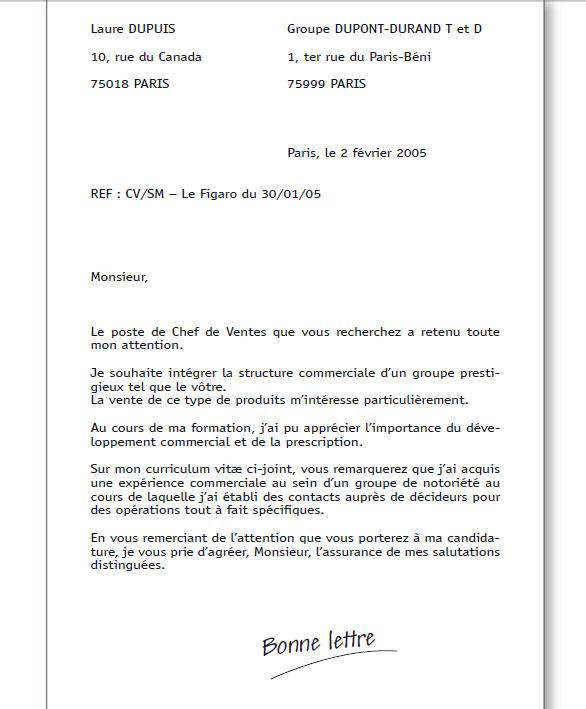 lettre de motivation cv joint courrier