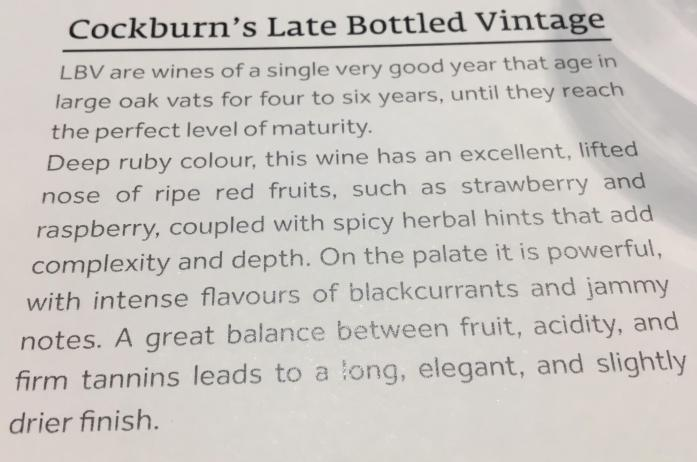 Cockburn's late bottle vintage tasting notes